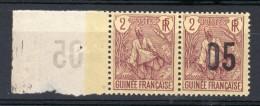 RARETE-RARETE   Berger Pulas  2c Surchargé 05 :05 Sur 2 C Tenant à Non Surchargé  RARETE -RARETE - Guinée Française (1892-1944)