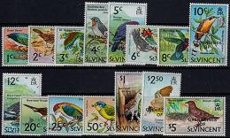 G0025 GRENADINES OF ST VINCENT 1974, SG 3-17  Birds  Overprinted   MNH