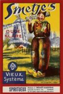 Spiritueux Grande Etiquette Liqueur Smetje's Oude Klare 1950's Mooi Groot Likeur Etiket Desmet Maertens R(moulin à Vent) - Etiquettes