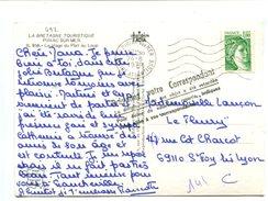 """Cp - 1.00 Vert Type SABINE Sur Cp + Cachet """"Prévenez Votre Correspondant La Distribution De Cet Objet A été Retardée..."""" - Marcophilie (Lettres)"""
