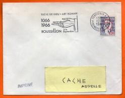 PERPIGNAN   TREVE DE DIEU ART ROMAN  12 / 9 / 1966 Lettre Entière N° AA 190 - Annullamenti Meccanici (pubblicitari)