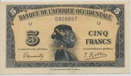 FRENCH WEST AFRICA P. 28a 5 F 1942 AUNC - West African States