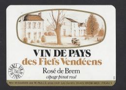 Etiquette De Vin De Pays Des Fiefs Vendéens  -  Rosé De  Brem  -   M. Paille  à  Brem Sur Mer  (85) - Unclassified