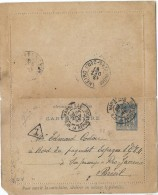 CTN44 - EP SAGE 15c CARTE LETTRE MARSEILLE / RIO DE JANEIRO 25/11/1897 - Entiers Postaux