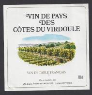 Etiquette De Vin De Pays Des Côtes De Virdoule  -  Ets Egu  à  Retiers  (35) - Unclassified