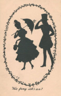BEAUTY WITH UMBRELLA AND LOVER EXCELLENT OLD SILHOUETTE Postcard - Silhouette - Scissor-type