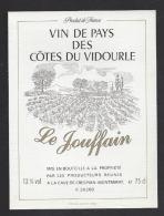 Etiquette De Vin De Pays Des Côtes Du Vidourle -  Le Jouffin -  Producteurs Réunis  à Crespian Montmirat   (30 ) - Unclassified
