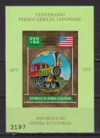 Train, Eisenbahn, Locomotive, Railway:  Guinea Equatorial 1972 Mi Nr. Blok 36 A  USA Mixtr Train - Trains
