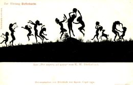 DIEFENBACH ~ PER ASPERA AD ASTRA FINE 1900 SILHOUETTE Postcard - Silhouette - Scissor-type