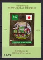 Train, Eisenbahn, Locomotive, Railway:  Guinea Equatorial 1972 Mi Nr. Blok 37 A  Japan  Tipo N Train - Trains