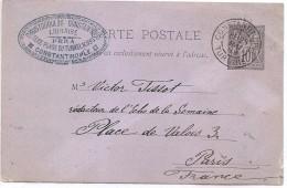 CTN44 - EP CP SAGE 10c OBL. CONSTANTINOPLE / PARIS 28/5/1889 - Used Stamps
