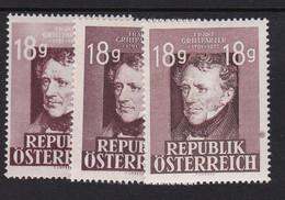 Austria 1947 Mi-Nr. 802, 75.Todestag Franz Grillparzer, Dunkel+hell+Papierfehler, Postfrisch, Siehe Scan