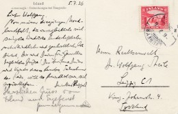 Island: 1936: Ansichtskarte Nach Leipzig