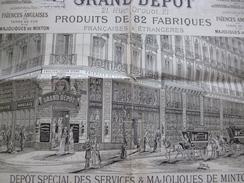 Publicité Illustrée 19ème 2 XA3 Environ Grand Dépôt 21 Rue Drouot Paris Service De Table, Faïences Anglaises....en L'éta - Publicités