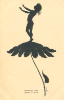 SILHOUETTE FAIRY ON FLOWER Postcard Signed DIEFENBACH - Silhouette - Scissor-type