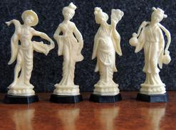 Lot De 4 Figurines MIR Série Statuettes Chinoises - Pêcheur, Mandarin, Danseuse & Porteuse D'eau - Intacts & Complets - Figurines