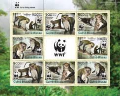 GUINEA BISSAU 2013 - WWF Monkeys, M/S 2 Sets - YT 4787-90; CV = 40 €