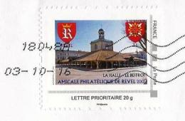 MonTimbraMoi MTM - Revel (2012) : La Halle, Le Beffroi / The Covered Market, The Belfry. Armoiries / Arms. Lettre 20 G. - France