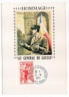 """CM-soie-1971--Hommage Au """"Général De Gaulle""""--cachet Colombey Les Deux églises-52 - Cartes-Maximum"""