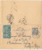 CTN44 - EP CL SAGE 15c PARIS / FRANKFORT JUIN 1886 - Cartes-lettres