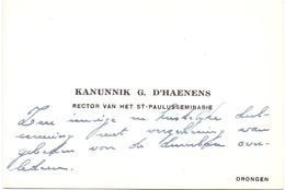 Visitekaartje Carte Visite - Kanunnik G. D'Haenens - Rector St Paulusseminarie Drongen - Cartes De Visite