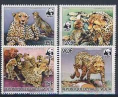MDW-BK1-106 MINT MNH ¤ HAUTE VOLTA 1984 4w In Serie ¤ ANIMALS - GUEPARDS - TIGER - WWF - W.W.F.