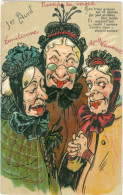 Relief - Gaufrée - Embossed - Prage - Caricatures 3 Femmes - TBE - Humor