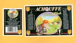 2 étiquettes Bière Achouffe Spéciale Blonde 33cl - Beer