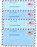 4 Enveloppes Aérogramme Neuves , Même Avion, Mais Montant Différent