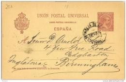 19778. Entero Postal Alfonso XIII Pelon 10 Cts,  MADRID 1894 A Inglaterra, Num 31A º