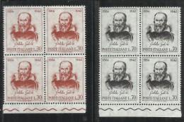 ITALIA REPUBBLICA ITALY REPUBLIC 1964 GALILEO GALILEI 4° CENTENARIO NASCITA SERIE COMPLETA QUARTINA BLOCK MNH - 1961-70: Mint/hinged