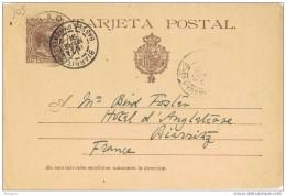 19779. Entero Postal BILBAO A Biarritz (Francia) 1891, Num 27 º