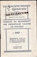 SOCIETE GENERALE Tableau De Rendement Des Principales Valeurs De Bourse 1907 48 Pages - Banque & Assurance