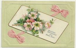 Voeux Nouvel An Cpa Bonne Annee Neujahr Fleur Ruban Gaufrée 1905 - Nieuwjaar