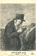 JUDAICA JEWISH MAN PRAYS AT CEMETERY FINE OLD Postcard - Judaisme
