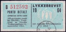 NOORWEGEN-NORWAY 1964 Lykkebrevet 1e Deel  GB-USED - Oblitérés