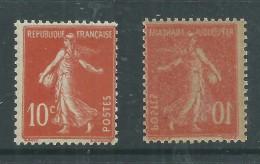 France N° 135 F XX Type Semeuse Fond Plein, 10  C. Rouge Variété Impression Recto Verso, Sans Charnière, TB