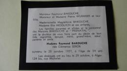 Mde Raymond Bakouche Nee Seror Alger 1957 - Todesanzeige