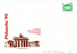 """(BT1) DDR Privatganzs.-Umschlag  PU 017 D2/001ca Wz 50(Pf) """"PHILATELIA ´90 - Brandenburger Tor"""", Ungebraucht - [6] Oost-Duitsland"""