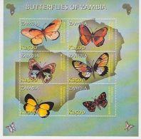 Zambia - Butterflies Of Zambia, 2002 - Sc 990 Sheetlet Of 6 MNH