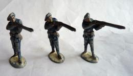LOT FIGURINE QUIRALU 3 CHASSEURS ALPINS SOLDATS TIREURS FUSILS DEBOUT - ALUMINIUM - Quiralu