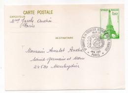 Entier--CP Inauguration Bureau Poste Tour Eiffel Cachet Commémo 51° Congrès Philatélie 1982--Excellent  état - Entiers Postaux