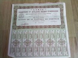"""Vieux Papier , Genre Action Porteur  : Indochine """" C A R I C """" Chantier Et Ateliers  Réunis , Siège A SAIGON - Saïgon - Actions & Titres"""