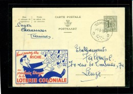 BELGIO - INTERI POSTALI BELGIO - STORIA POSTALE BELGIO - PUBLIBELS - PUBBLICITA´ LOTTERIA COLONIALE - Interi Postali