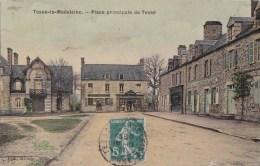61 TESSE La MADELEINE  Belle CPA Toilée Couleur  Maisons Commerces Sur La PLACE HOTEL Timbre 1911 - Non Classificati