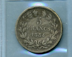 1834 /W/ 5 FRANCS 2ème Type DOMARD - LOUIS PHILIPPE I ROI DES FRANÇAIS - France