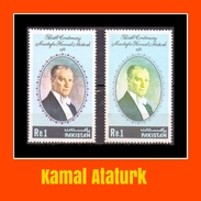 1981 Pakistan Birth Centenary Of Mustafa Kamal Ataturk Colour Variety (2v) MNH (PK-25)