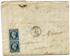 France  Paire Du N° 14 Sur Lettre  Oblitérée  Nemours  Alger - 1849-1876: Classic Period