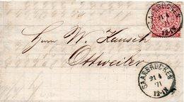 Allemagne Du Nord Lettre De Saarbrücken 1871