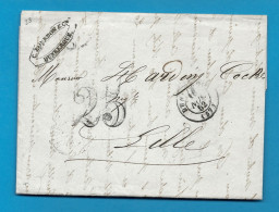 Nord - Dunkerque Pour Lille. CàD Type 15 + Taxe Tampon 25. 1852 - Marcophilie (Lettres)